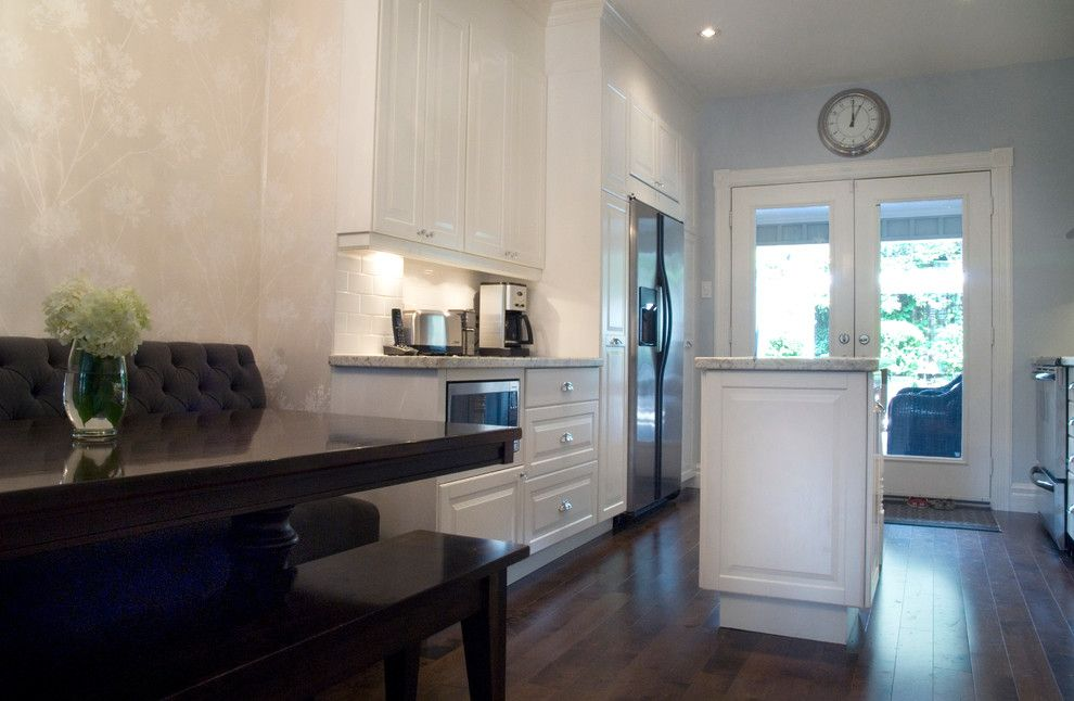 Ikea Microwave for a Traditional Kitchen with a Small Island and Addition and Full Remodel, Cabbagetown, Toronto, on by Norcon Home Improvements