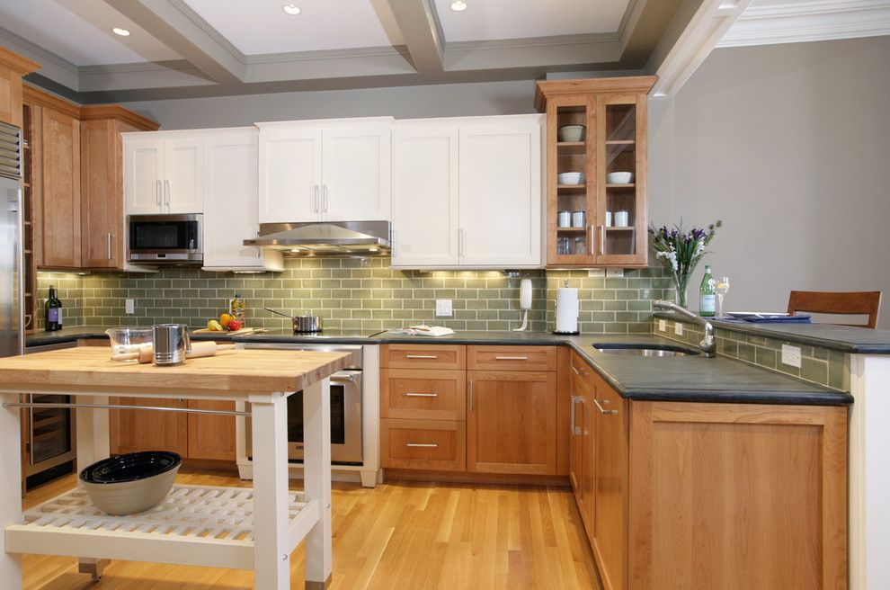 Ikea Microwave for a Traditional Kitchen with a Wood Floor and Traditional Kitchen by Renovation Planning, Llc