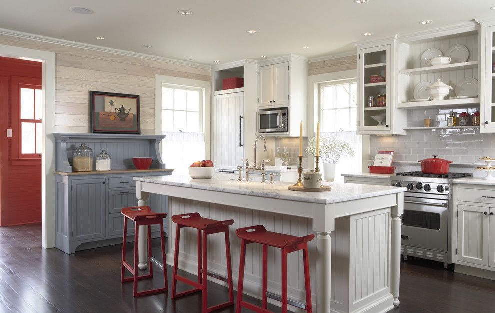 Ikea Microwave for a Traditional Kitchen with a Wood Wall and Historic Cottage Renovation Kitchen by Trehus Architects+Interior Designers+Builders