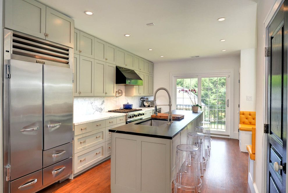 Ikea New Orleans for a Contemporary Kitchen with a Recessed Lights and White Shaker Ikea Kitchen by Semihandmade