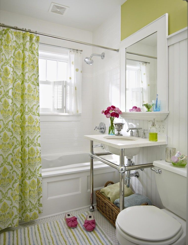 Ikea Panel Curtains for a Traditional Bathroom with a Striped Rug and Bath by Creative Viewpoints