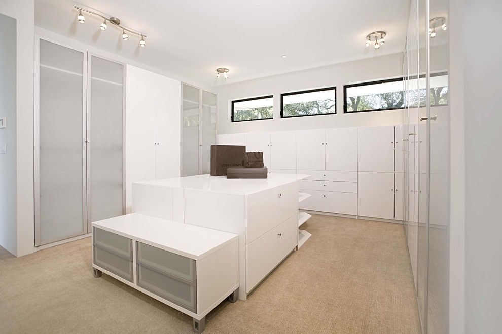 Ikea Pax System for a Contemporary Closet with a White Room and Dressing Room by Mark English Architects, Aia