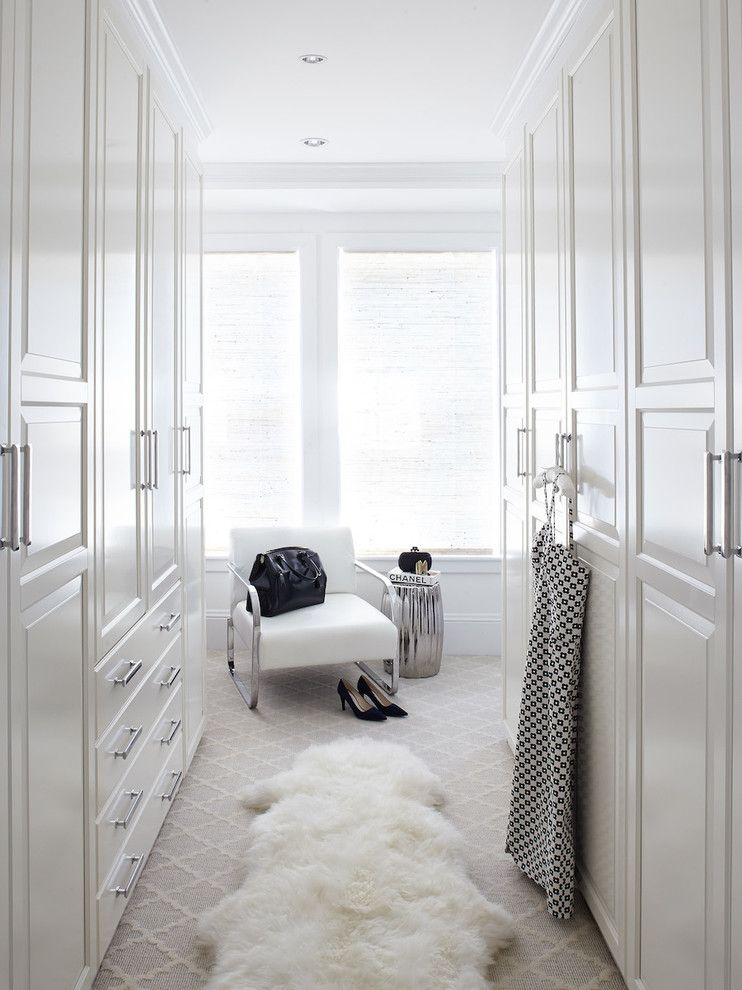 Ikea Pax Wardrobe for a Transitional Closet with a Sheep Skin Rug and