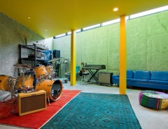 Ikea Poang for a Contemporary Basement with a Yellow Post and My Houzz: The Thorns by Lucy Call