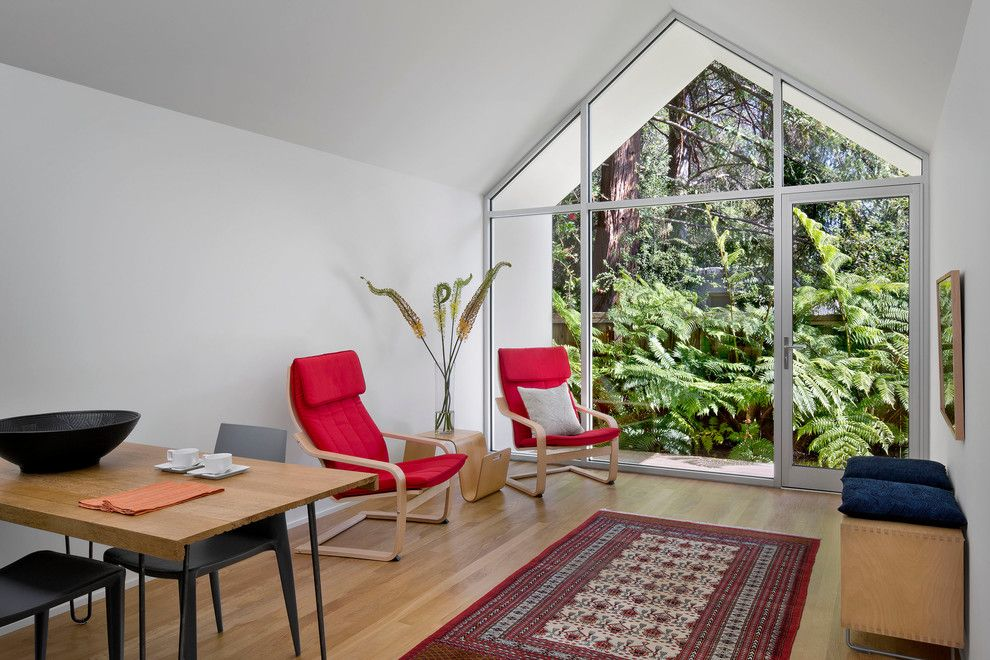 Ikea Poang for a Contemporary Living Room with a Wood Floors and Elmwood Cottage by Turnbull Griffin Haesloop