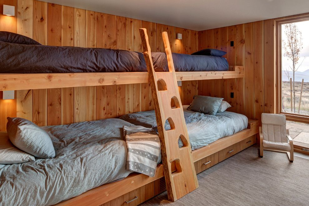Ikea Poang for a Rustic Bedroom with a Log Cabin and Wolf Creek Ranch by Shubin + Donaldson Architects, Inc.