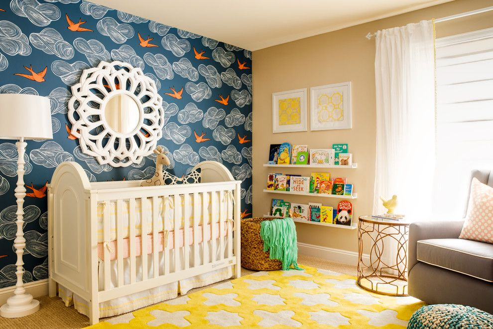 Ikea Poang for a Transitional Nursery with a Floating Shelves and Little Sparrow Nursery by J & J Design Group, Llc.