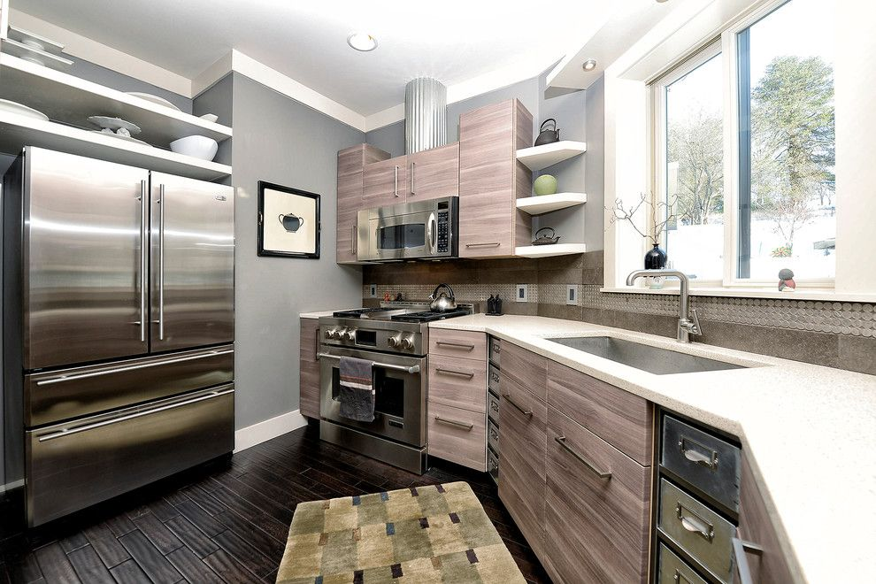Ikea Ps Cabinet for a Contemporary Kitchen with a Brown Gray Cabinets and Modern Silo by Monticello Custom Homes and Remodeling