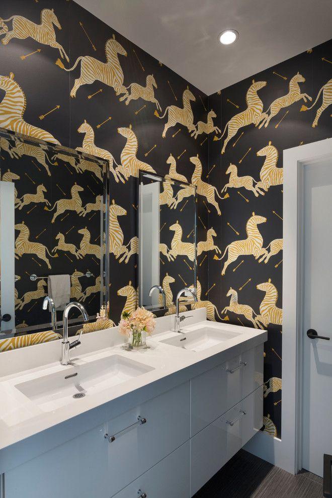 Ikea Quartz Countertops for a Contemporary Bathroom with a Zebra and Bold Zebra Bathroom by Ann Lowengart Interiors