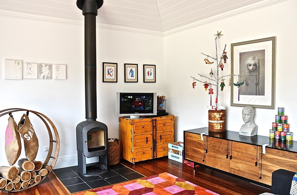 Ikea Stockholm Rug for a Eclectic Living Room with a Firewood and Woodside by Luci.d Interiors