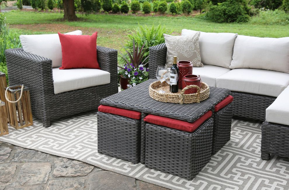 Ikea Stockholm Rug for a  Patio with a Wicker Furniture and Ae Outdoor by Ae Outdoor