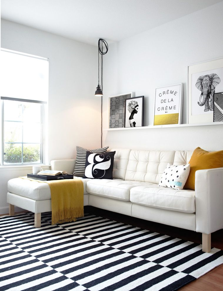 Ikea Stockholm Rug For A Scandinavian Family Room With Black And White Striped Area