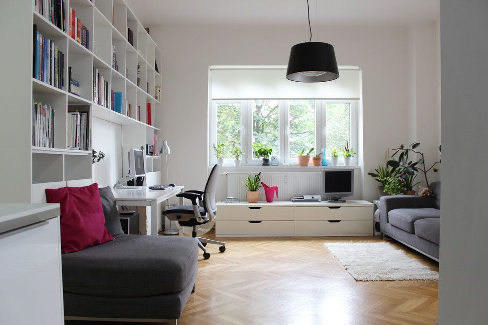 Ikea Stolmen for a Contemporary Home Office with a Sheer Window Treatment and My Houzz: Poupetova, Prague by Martin Hulala