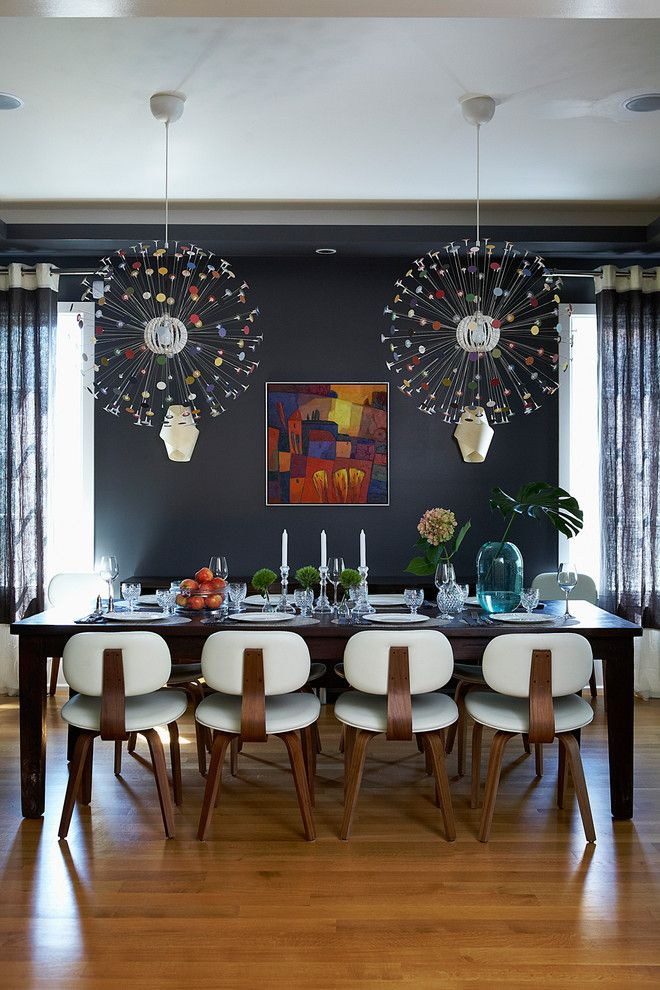 Ikea Swivel Chair for a Contemporary Dining Room with a Dramatic and Toronto Residence by Gregory Roth Design