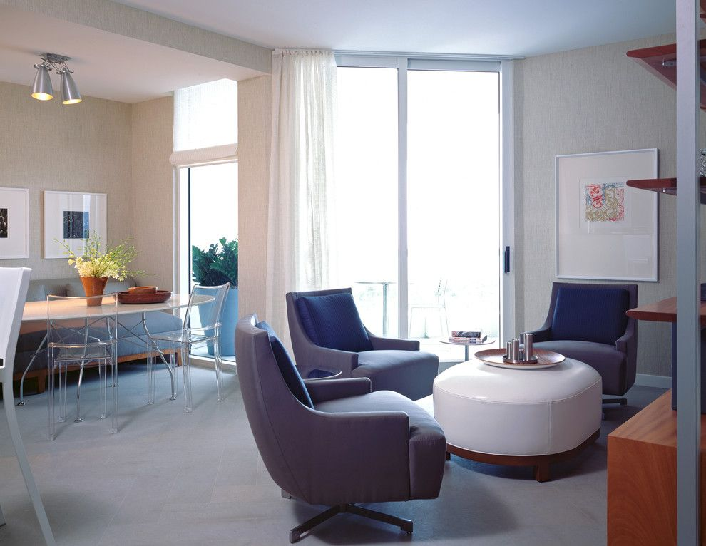 Ikea Swivel Chair for a Contemporary Family Room with a Leather Ottoman and Atlantic One Family Room by Lkid