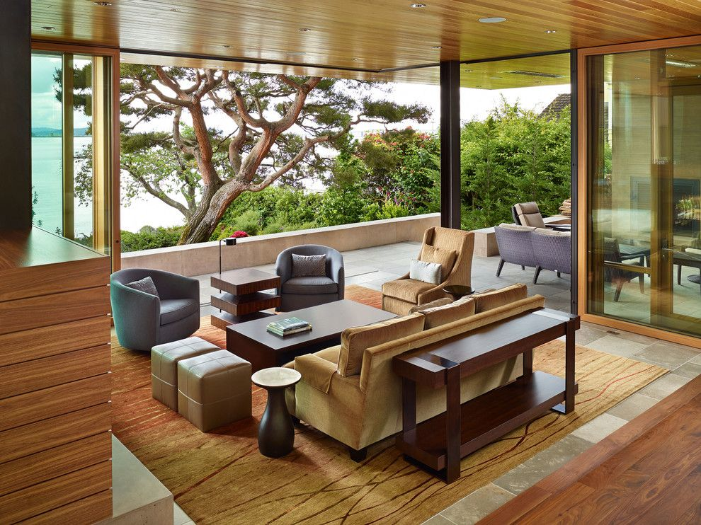 Ikea Swivel Chair for a Contemporary Porch with a Metal Stairs and Courtyard House by Deforest Architects