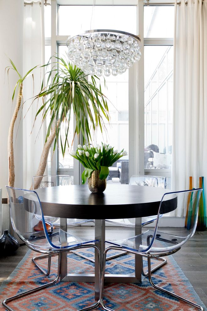 Ikea Swivel Chair for a Eclectic Dining Room with a White Curtains and My Houzz: Deby and Vivek by Rikki Snyder