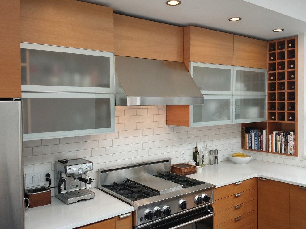 Ikea Varde for a Contemporary Kitchen with a Frosted Glass Cabinets and Glen Park Residence by Barker Wagoner Architects