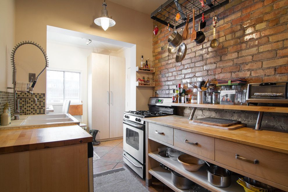 Ikea Varde for a Eclectic Kitchen with a Hanging Pot Rack and My Houzz: Lisa by Lucy Call