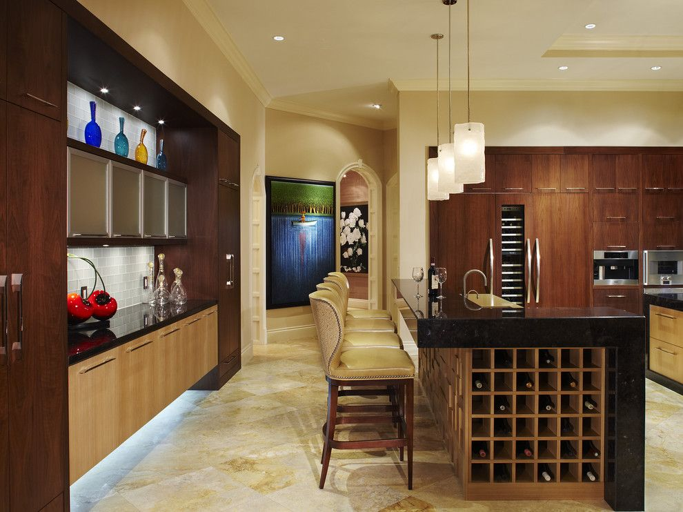 Illuminations Lighting for a Contemporary Kitchen with a Tile Backsplash and Arnold Schulman by Arnold Schulman Design Group