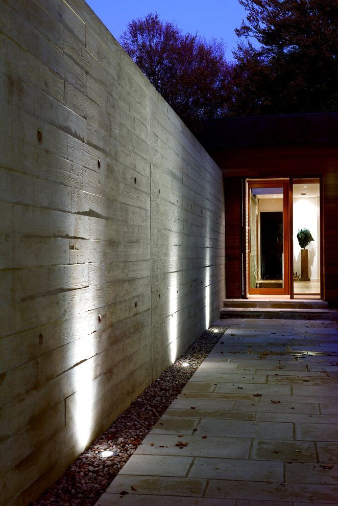 Illuminations Lighting for a Modern Entry with a External Lights and New Forest House by Pad Studio