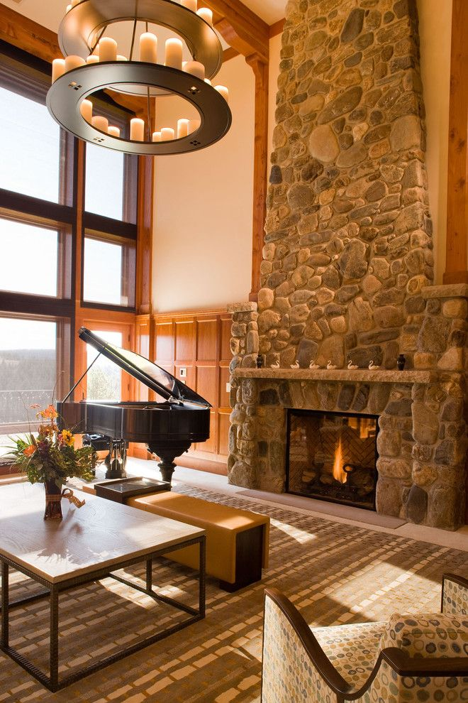 Indiana Limestone for a Rustic Family Room with a Rustic and Rustic Family Room by Felhandler/ Steeneken Architects
