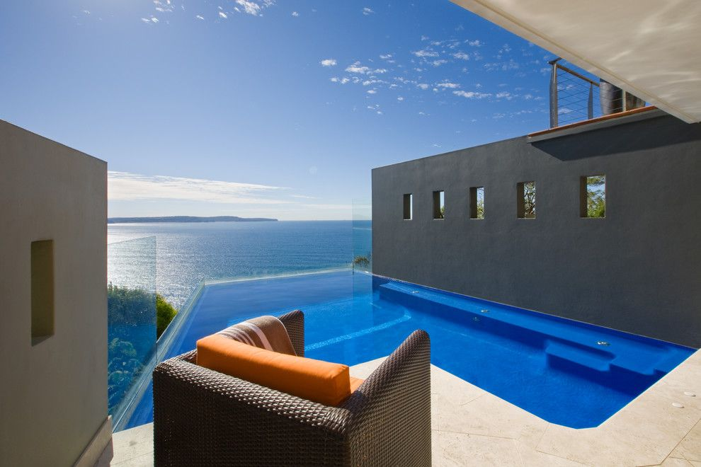 Infinity Edge Pool for a Modern Pool with a Blue and Whale by Peter Glass & Associates