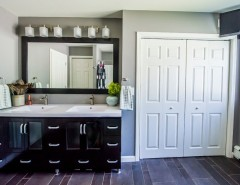 Innermost Cabinets for a Modern Bathroom with a Vanity Lighting and Troy Residence by Bespoke Decor