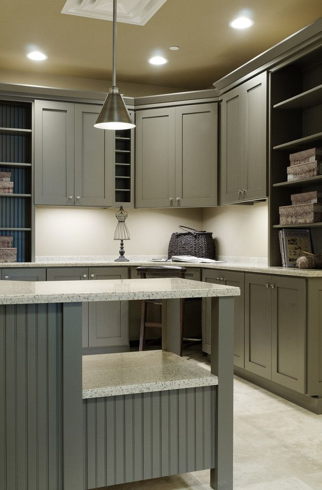 Innermost Cabinets for a Transitional Home Office with a Under Cabinet Lighting and Stone Showroom by Jenny Campbell