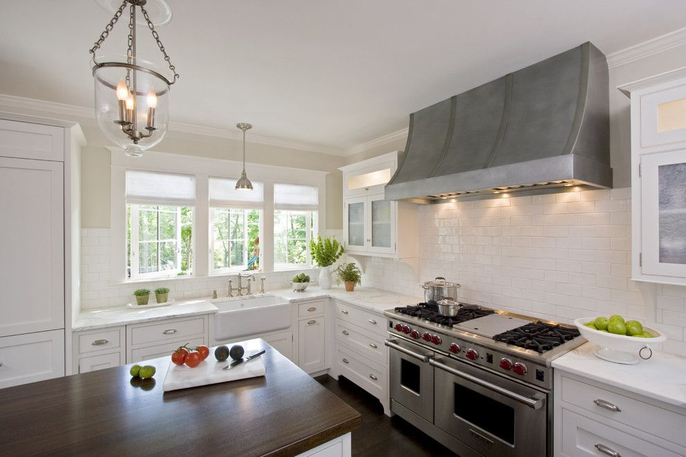 Inset Cabinets for a Traditional Kitchen with a Bell Pendant and White Kitchen with Custom Inset Rutt Cabinets and Zinc Hood by Clawson Architects, LLC