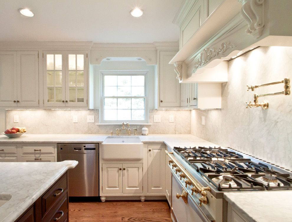 Inset Cabinets for a Traditional Kitchen with a Carrara Marble and Hammond Kitchen 9 by Cameo Kitchens, Inc.