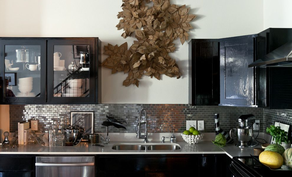 Installing Backsplash for a Contemporary Kitchen with a Artwork and the Olivers House by Jamie Laubhan Oliver