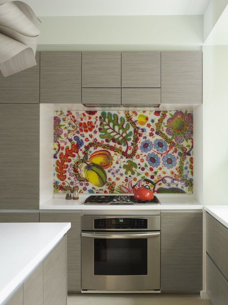 Installing Backsplash for a Eclectic Kitchen with a Fabric Backsplash and Bohemian Apartment Kitchen with Fabric Backsplash by Incorporated