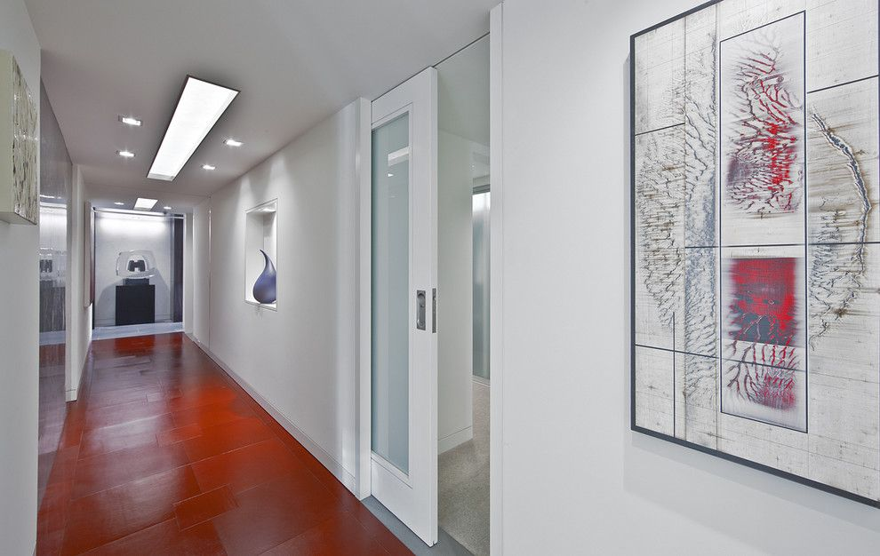 Installing Pocket Doors for a Contemporary Hall with a Glass Door and Hallway/entry by Garret Cord Werner Architects & Interior Designers