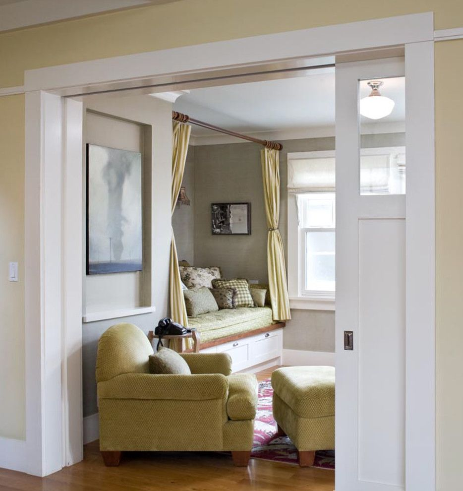 Installing Pocket Doors for a Traditional Living Room with a Wood Flooring and Princeton Residence by Ana Williamson Architect
