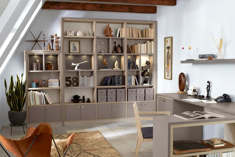 Installing Tile Backsplash for a Contemporary Home Office with a Gray Desk and California Closets by California Closets Hq