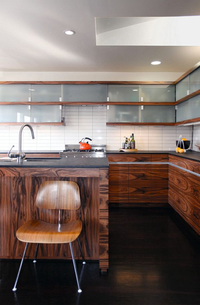Installing Tile Backsplash for a Contemporary Kitchen with a Island Milk Glass Tile Skylight Kitchen and Bernal Heights Modern Kitchen with Island by Architect Mason Kirby Inc.