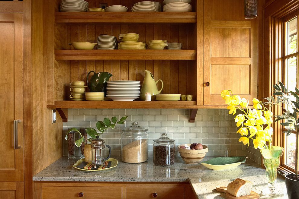 Installing Tile Backsplash for a Craftsman Kitchen with a Glass Canisters and Saint Paul Craftsman by David Heide Design Studio