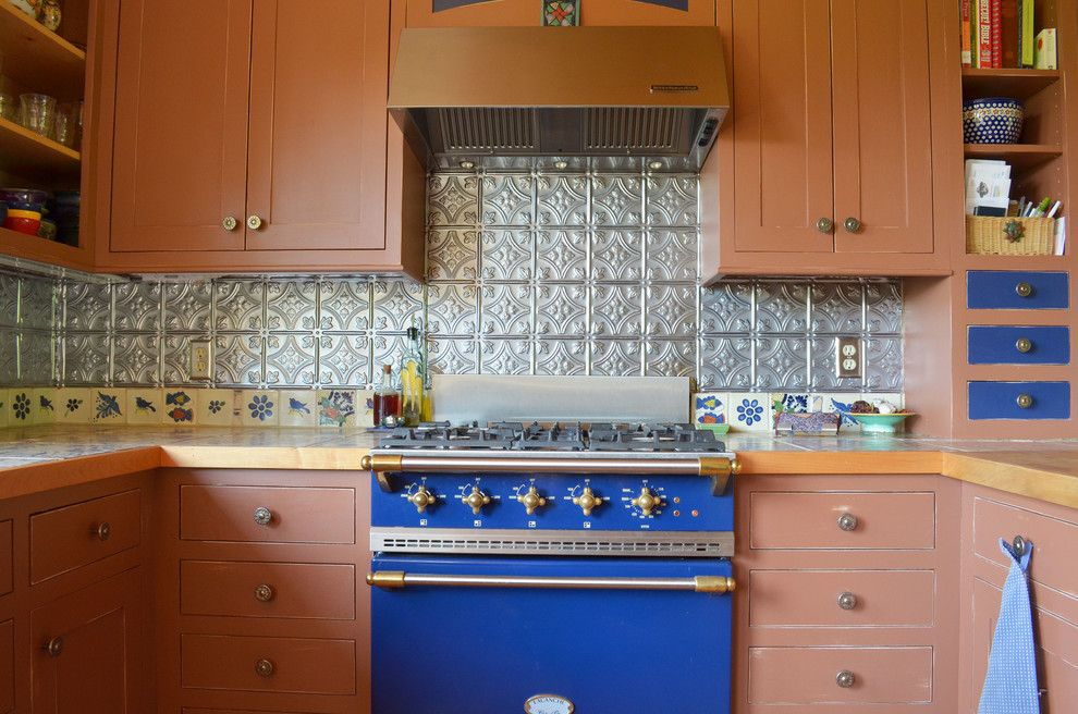Installing Tile Backsplash for a Rustic Kitchen with a Flat Panel Cabinets and Half Way, Or: Pat & Patti Walker by Sarah Greenman
