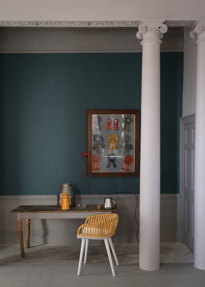 Ionic Columns for a Traditional Home Office with a Tea and an Office Painted in Inchrya Blue No.289 by Farrow & Ball by Farrow & Ball