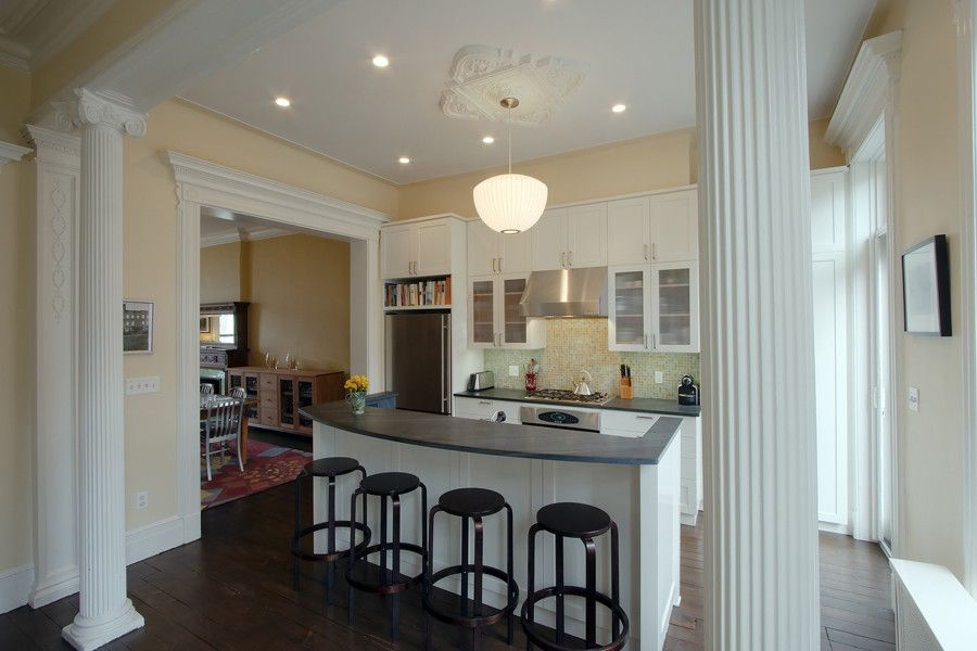 Ionic Columns for a Traditional Kitchen with a Pendant Lighting and Greenwood Heights Townhouse by Ben Herzog