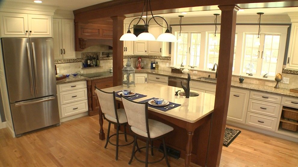Kitchen Island With Columns ionic columns for a transitional kitchen with a kitchen island