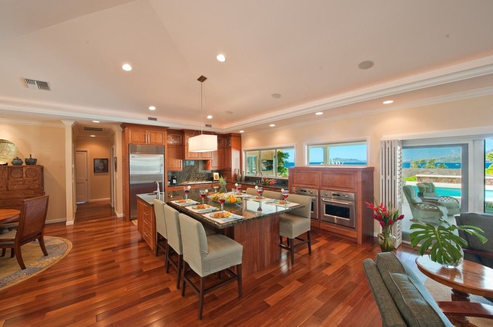 Islander Pools for a Contemporary Kitchen with a Great Room and the Ohana Place by Archipelago Hawaii Luxury Home Designs