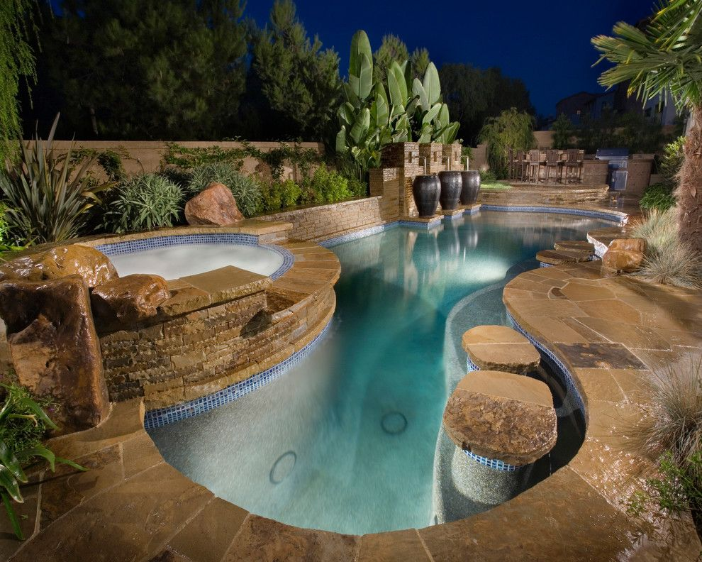 Islander Pools for a Mediterranean Pool with a Water Fountain and Orange County Projects by Alderete Pools & Solar