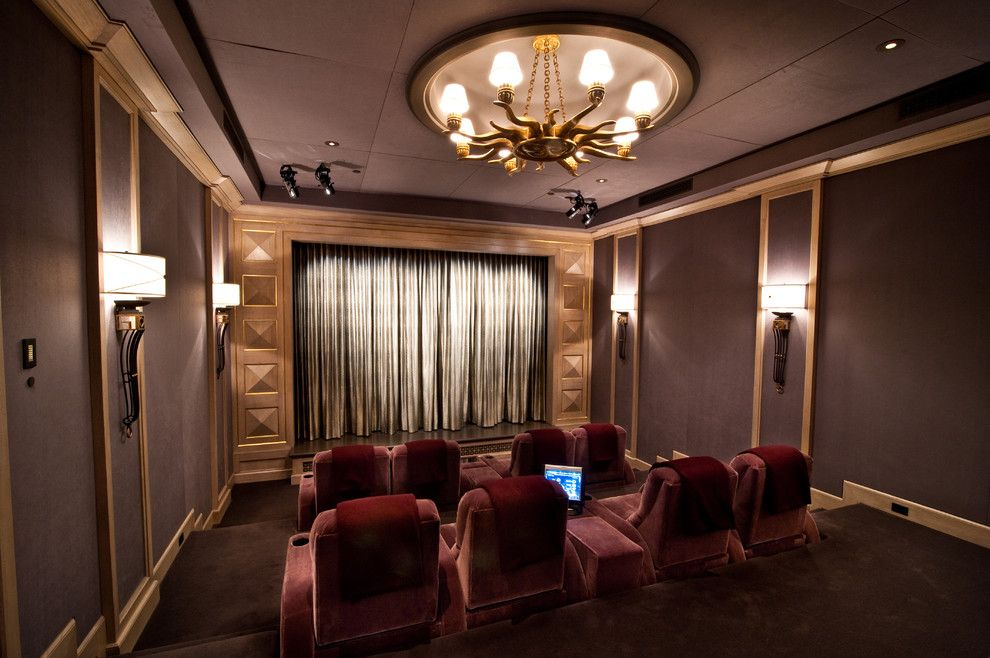 Islip Movie Theater for a Traditional Home Theater with a Gold and Home Theater by Interior Technologies