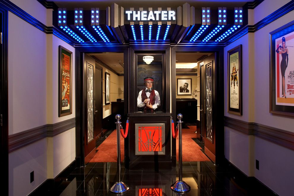 Islip Movie Theater for a Traditional Home Theater with a Theatre Entrance and Home Theatre Booth by Jablonski Associates