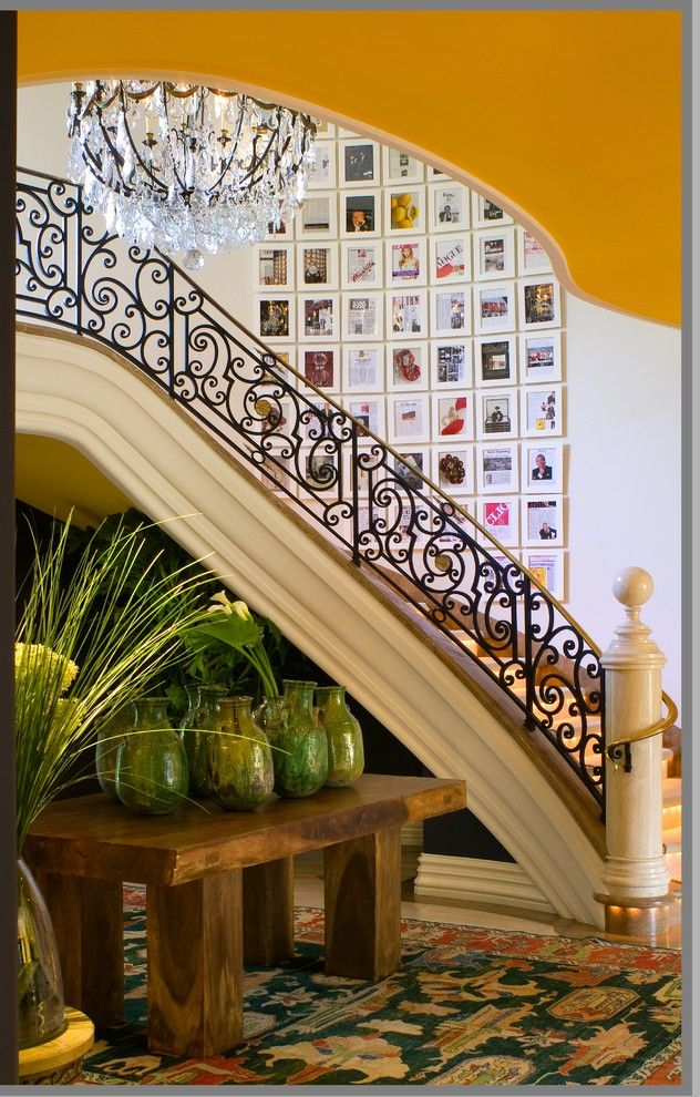Issis for a Mediterranean Staircase with a Art Wall and Bold Dramatic Statements by Tracy Murdock Allied Asid