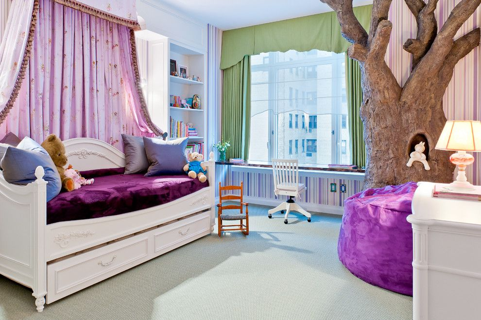 Issis for a Traditional Kids with a Purple and Luxurious Upper West Side Apartment by Perianth Interior Design