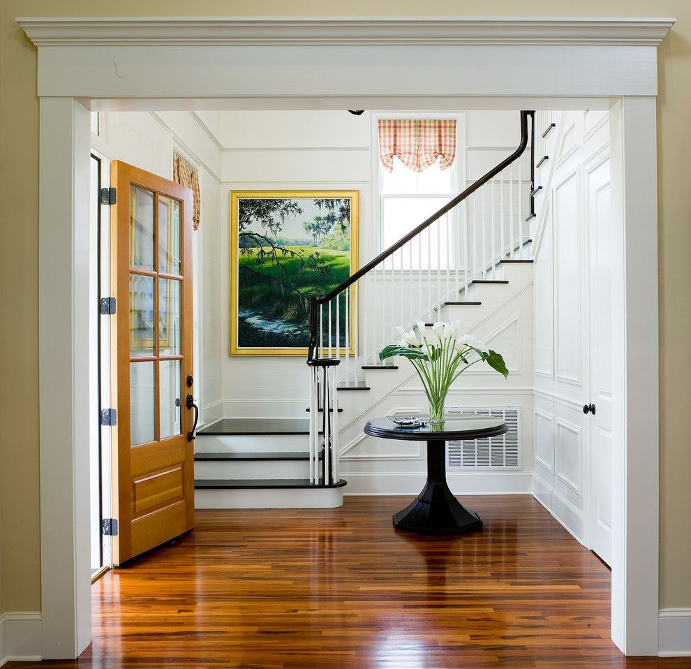 Jacobean Stain for a Traditional Entry with a Tigerwood and Eastover Cottage by Watermark Coastal Homes, Llc