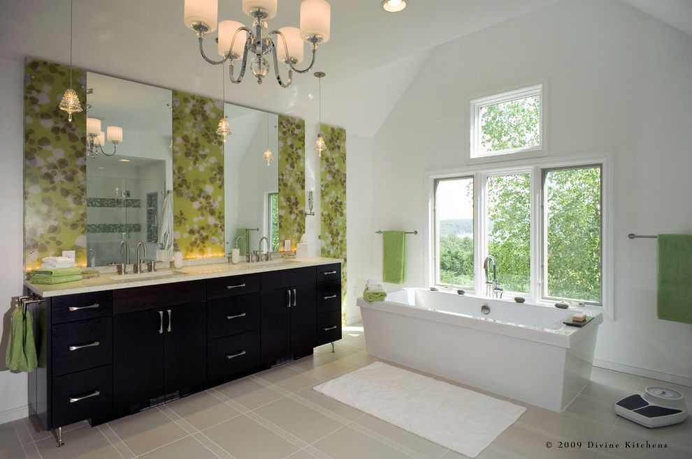 Jason Tubs for a Contemporary Bathroom with a Brushed Nickel and Divine Kitchens Llc by Divine Design+Build
